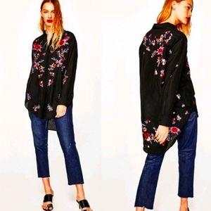 Zara Women Premium Denim embroided tunic size M
